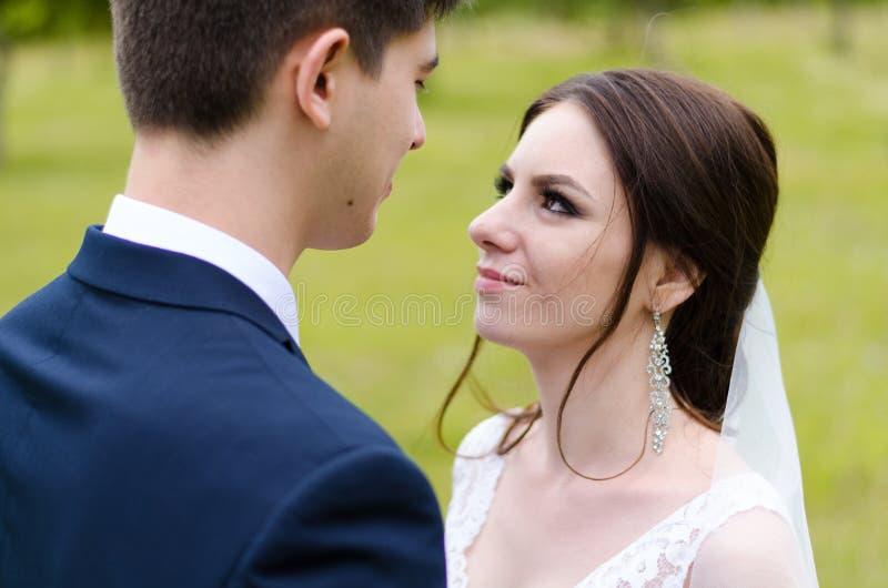 Ein schönes verheiratetes Paar in den Brautkleidern, werfend für ein Fotoschießen in einem belarussischen Dorf auf Grüner Hinterg stockbild