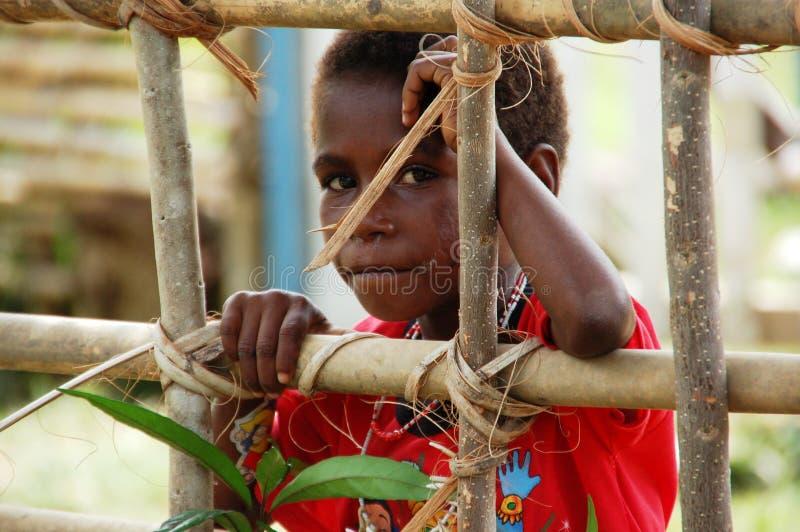Ein schüchternes aber neugieriges Westpapuanmädchen, das durch den Zaun schaut lizenzfreies stockfoto