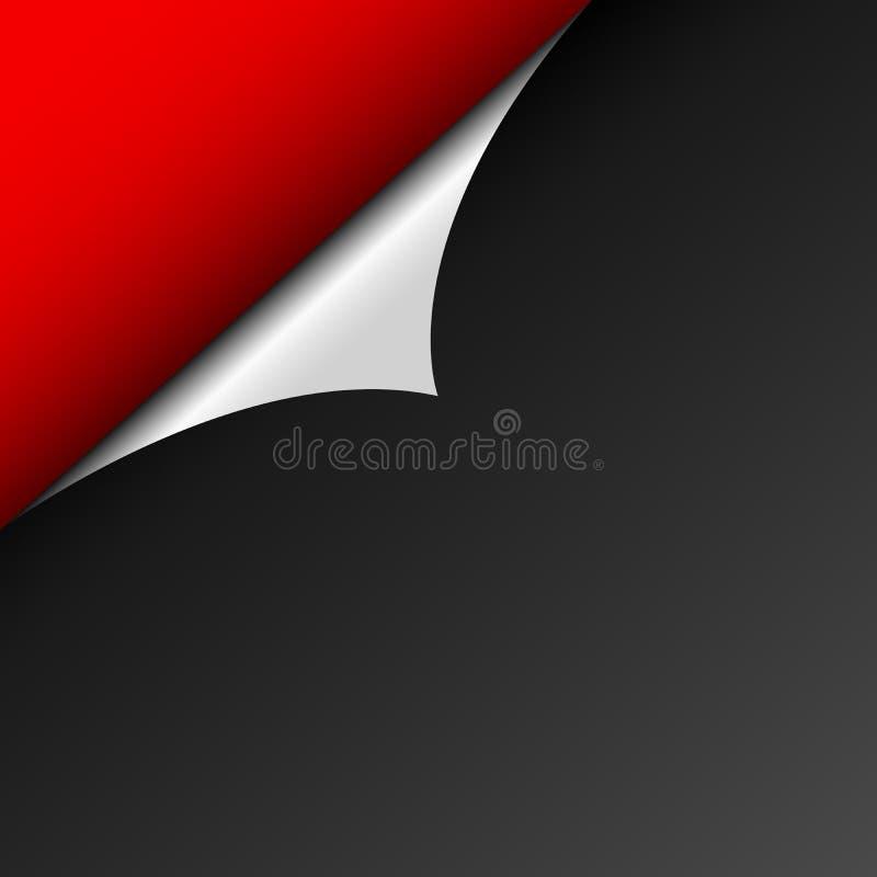Ein Schalenblatt des schwarzen Papiers gegen den roten Hintergrund Die gebogene Ecke reflektiert Licht Schablone für Website Leer vektor abbildung