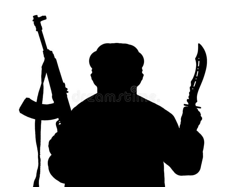 Ein Schattenbild des Mannes bewaffnet mit Kalaschnikow und Messer stock abbildung