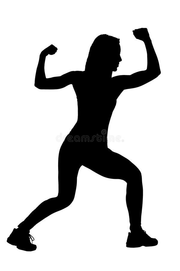 Ein Schattenbild eines weiblichen Athleten lizenzfreies stockbild