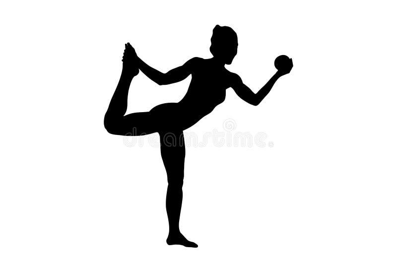 Ein Schattenbild eines weiblichen ausarbeitenden Athleten stock abbildung