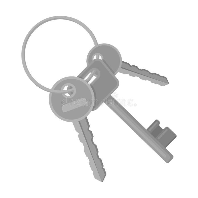 Ein Schlüsselbund von den Zellen im Gefängnis Schlüssel für öffnende Verbrecher Einzelne Ikone des Gefängnisses im einfarbigen Ar stock abbildung
