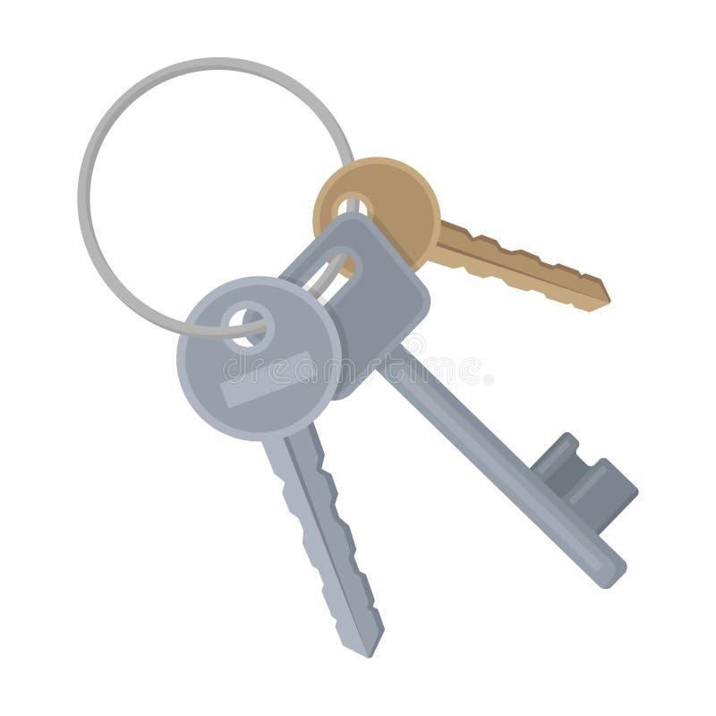 Ein Schlüsselbund von den Zellen im Gefängnis Schlüssel für öffnende Verbrecher Einzelne Ikone des Gefängnisses im Karikaturartve lizenzfreie abbildung