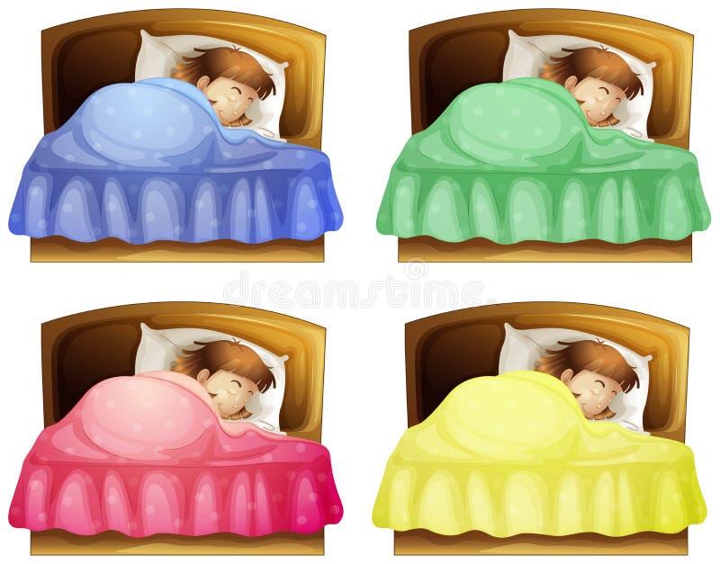 Ein schlafendes Mädchen auf einem Bett vektor abbildung