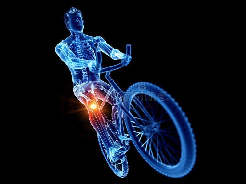 ein schmerzliches Knie der Radfahrer stock abbildung