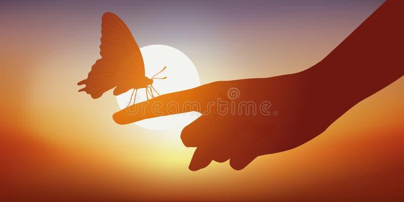 Ein Schmetterling auf einer woman's Hand an der Dämmerung vektor abbildung