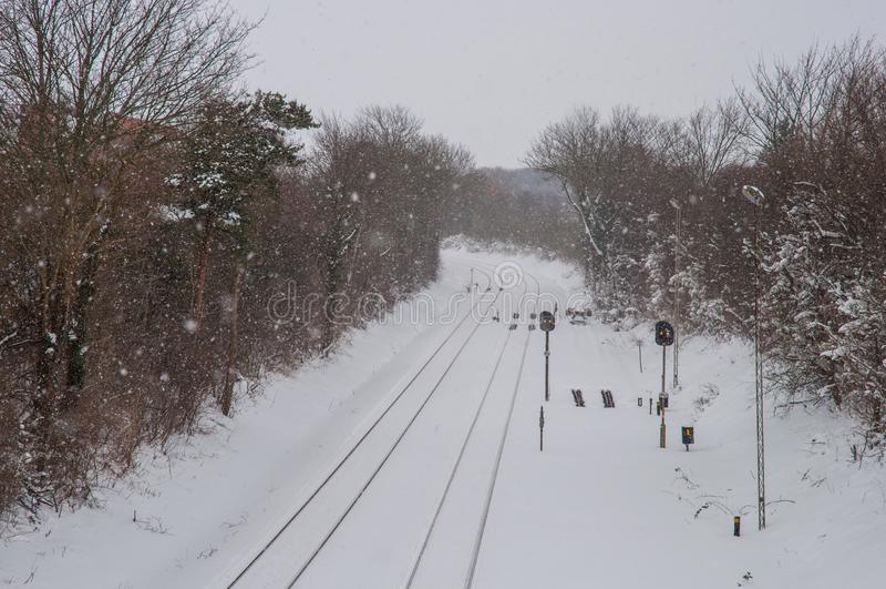 Ein schneebedeckter Tag stockbild