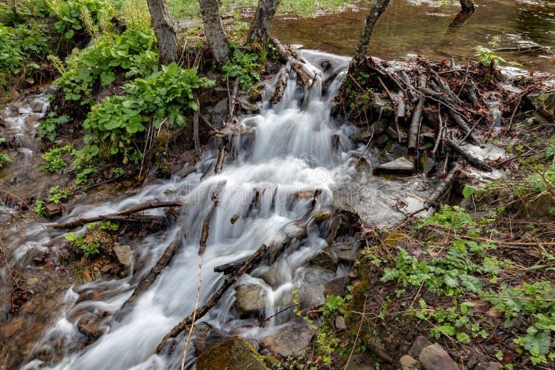 Ein schneller Strom im bergigen Gelände Wasser, das in den Fluss gezeigt in einer langen Belichtung fließt lizenzfreie stockfotografie