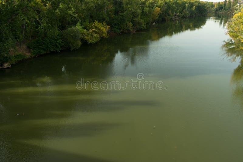 Ein schnelles Fluss pisuerga mit reichlicher Vegetation auf seinen Banken stockfotografie