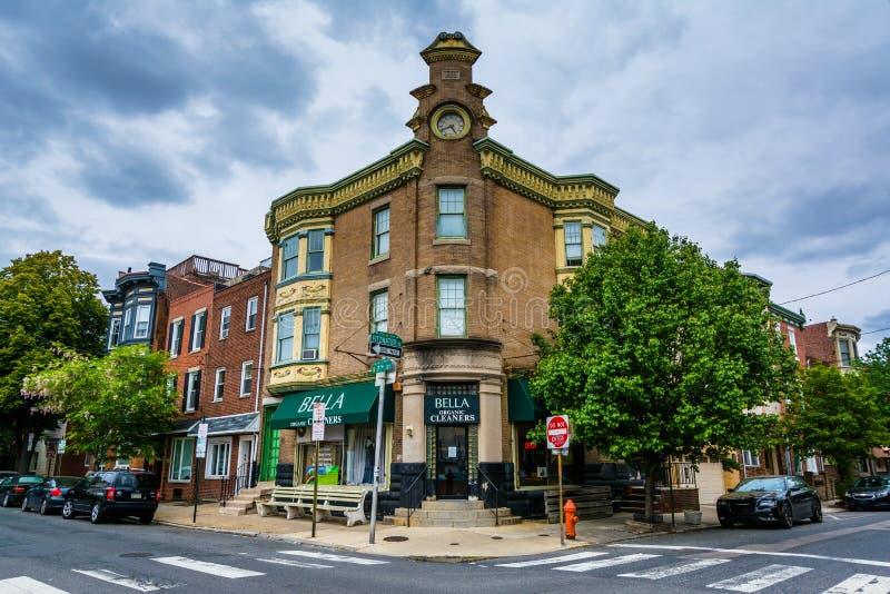 Ein Schnitt und Gebäude in Bella Vista, Philadelphia, Pennsylvania lizenzfreie stockbilder