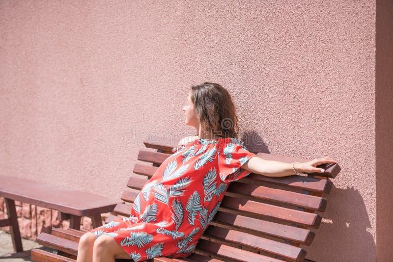 Ein schwangeres Mädchen sitzt auf einer Bank Platz f?r die Aufschrift Schönes schwangeres Mädchen im Kleid lizenzfreie stockbilder