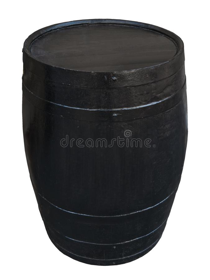 Ein schwarzes Fass auf einem weißen Hintergrund lizenzfreie stockfotografie