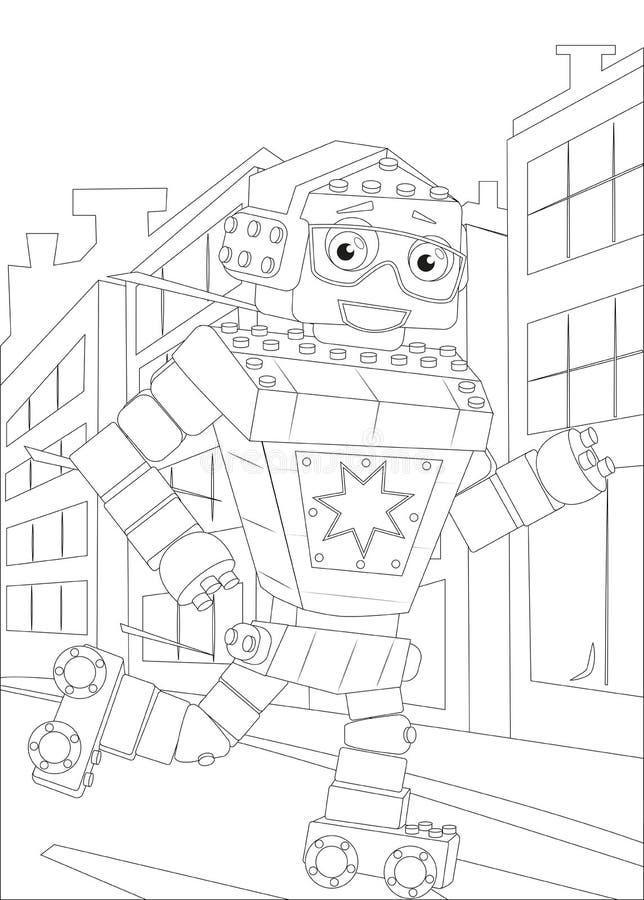 Ein Schwarzweiss-Entwurfsbild eines Roboters, laufen Rollschuh lizenzfreie stockbilder