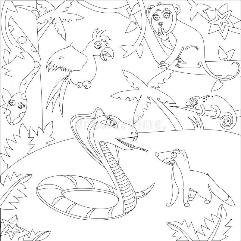 Ein Schwarzweiss-Entwurfsbild von Dschungeltieren Kobra, Mungo, Boa, ein Papagei, ein Affe, Chamäleon stockbild