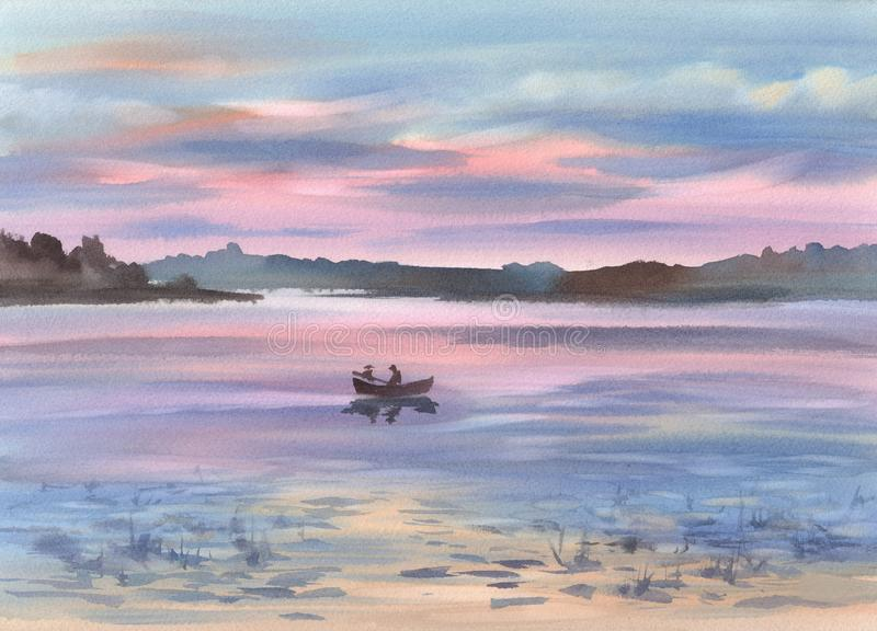 Ein See im Abendlichtlandschaftsaquarellhintergrund vektor abbildung