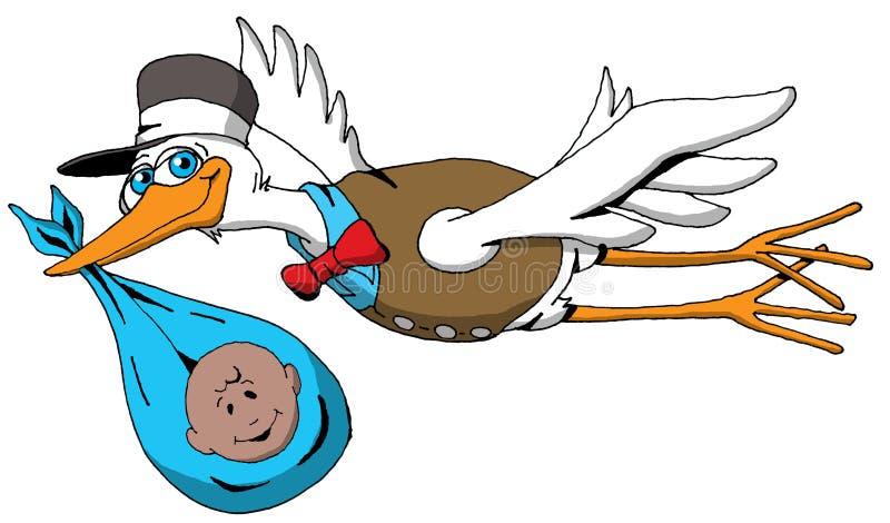 Ein sehr glücklicher Storch auf seiner Weise, ein Baby zu liefern lizenzfreie abbildung