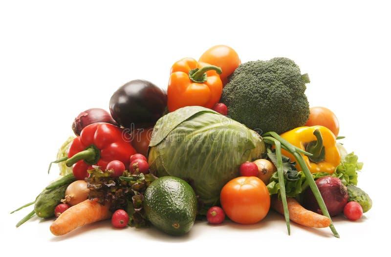 Ein sehr großer Stapel der frischen Obst und Gemüse stockfoto