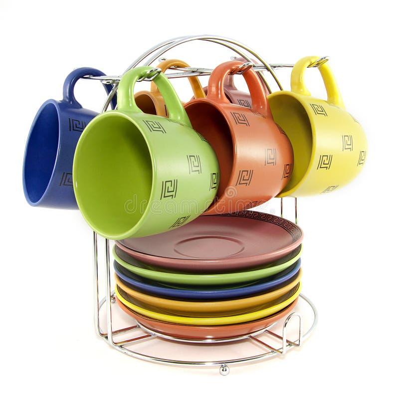 Ein Set farbige Cup für Tee stockfotografie