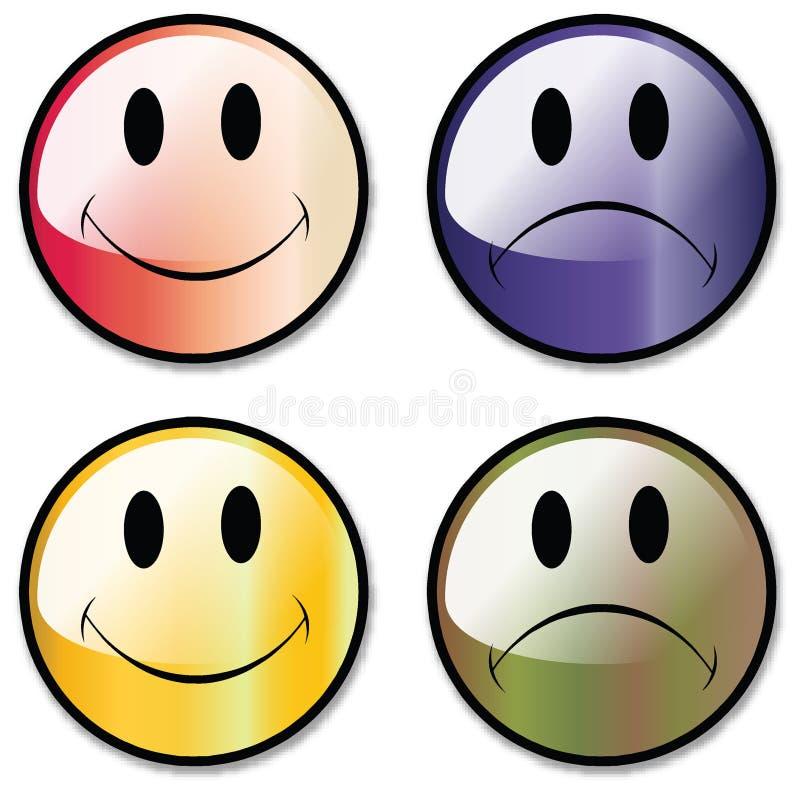 Ein Set glückliche und unglückliche smiley-Gesichts-Tasten oder lizenzfreie abbildung