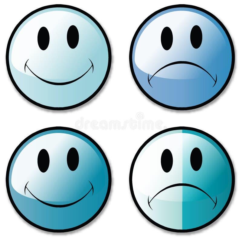 Ein Set glückliche und unglückliche smiley-Gesichts-Tasten oder stock abbildung