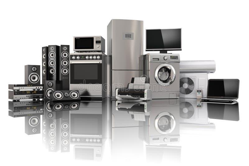 Ein Set Ikonen der Küchegeräte für Ihre Auslegung Gaskocher, Fernsehkino, Kühlschrankluft conditi lizenzfreie abbildung