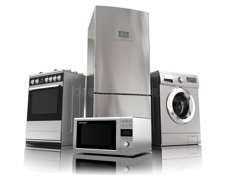 Ein Set Ikonen der Küchegeräte für Ihre Auslegung Satz Haushaltsküchentechniken stock abbildung