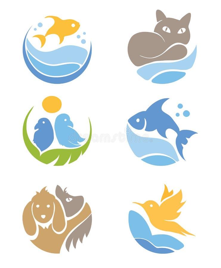 Ein Set Ikonen - Haustiere lizenzfreie abbildung