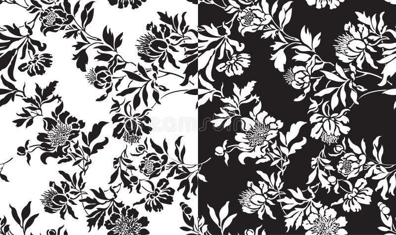 Ein Set nahtlose Schwarzweiss-Muster lizenzfreies stockfoto