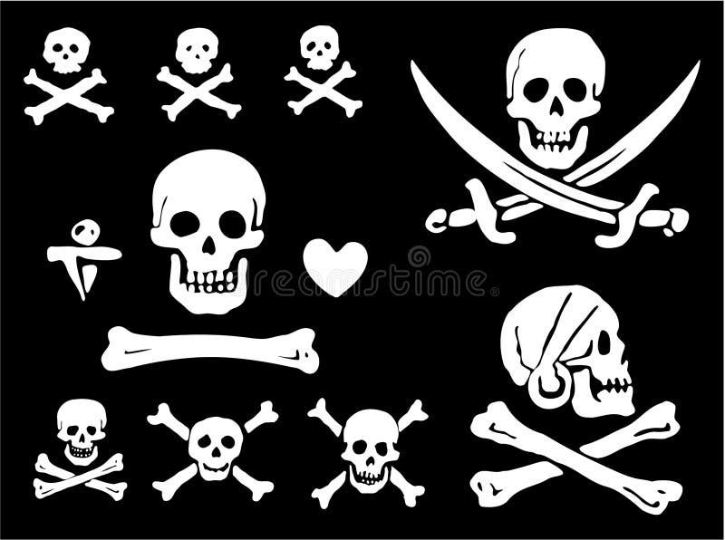 Ein Set Piratenmarkierungsfahnen, -schädel und -knochen stock abbildung