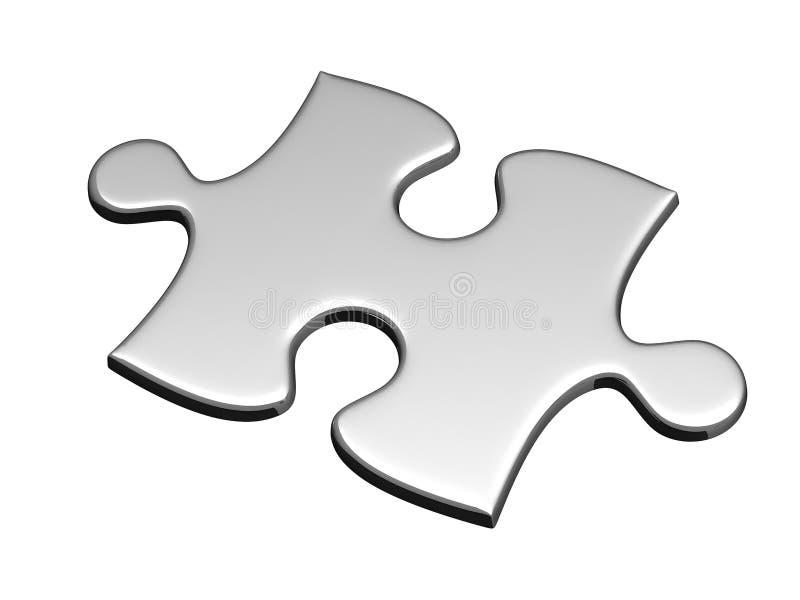 Ein silbernes Puzzlespiel getrennt auf Weiß lizenzfreie abbildung