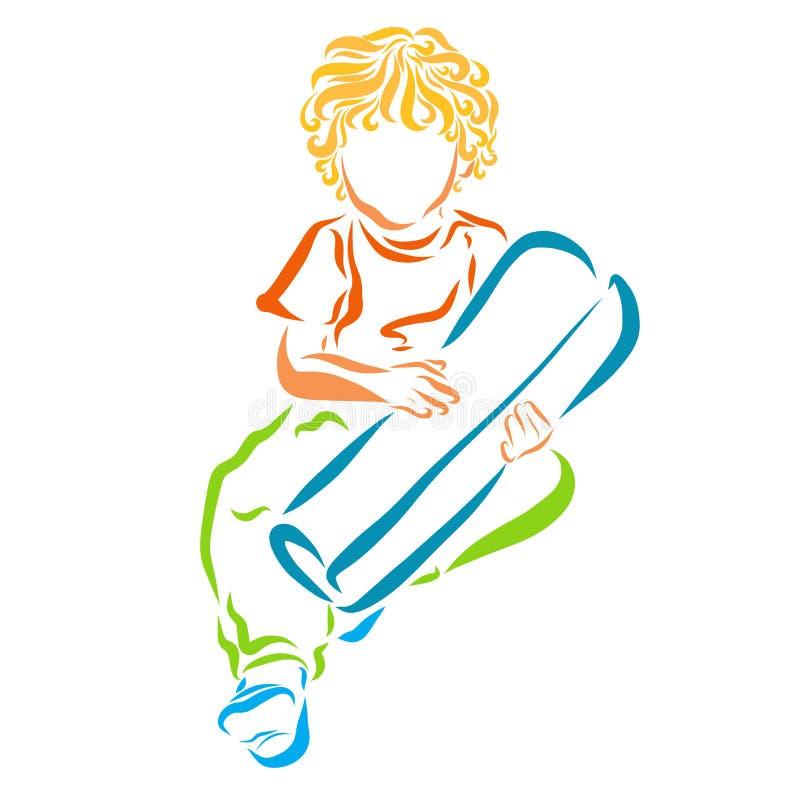 Ein sitzender Junge mit dem gelbem gelockten Haar, den Griffen ein Bündel oder Rolle herein stock abbildung