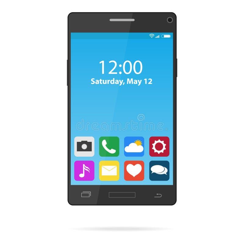 Ein Smartphone mit Ikonen und Vorsprüngen Ein realistischer Smartphone mit Ikonen von Anwendungen vektor abbildung