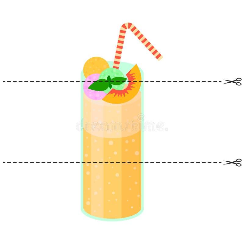Ein Spiel für Kinder des Vorschulalters Schneiden Sie das Bild in Stücke Falten Sie sich in der rechten Bestellung mosaik Cocktai stock abbildung