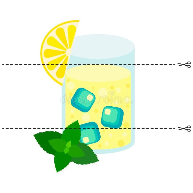 Ein Spiel für Kinder des Vorschulalters Schneiden Sie das Bild in Stücke Falten Sie sich in der rechten Bestellung mosaik Zitrone vektor abbildung
