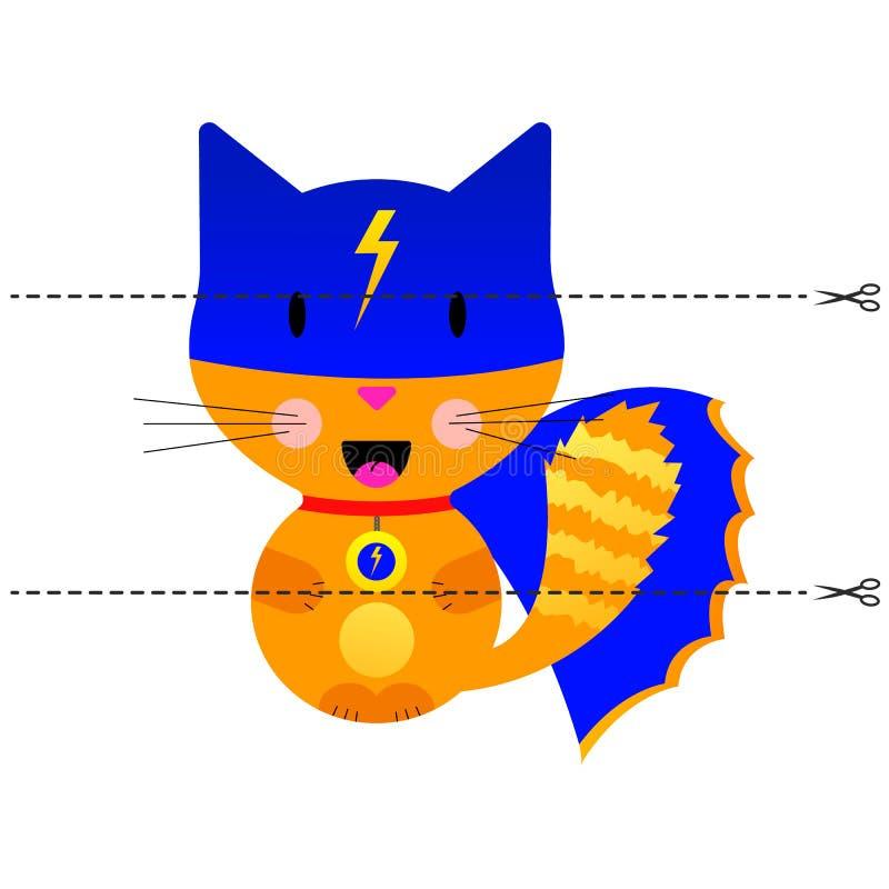 Ein Spiel für Kinder des Vorschulalters Schneiden Sie das Bild in Stücke Falten Sie sich in der rechten Bestellung mosaik Katzens lizenzfreie abbildung