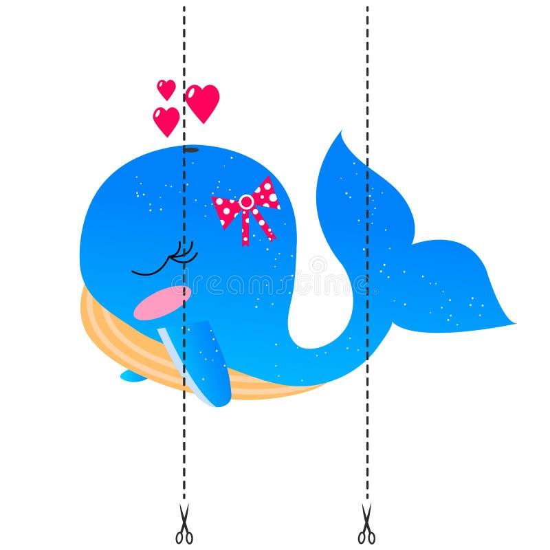 Ein Spiel für Kinder des Vorschulalters Schneiden Sie das Bild in Stücke Falten Sie sich in der rechten Bestellung mosaik Blauwal vektor abbildung