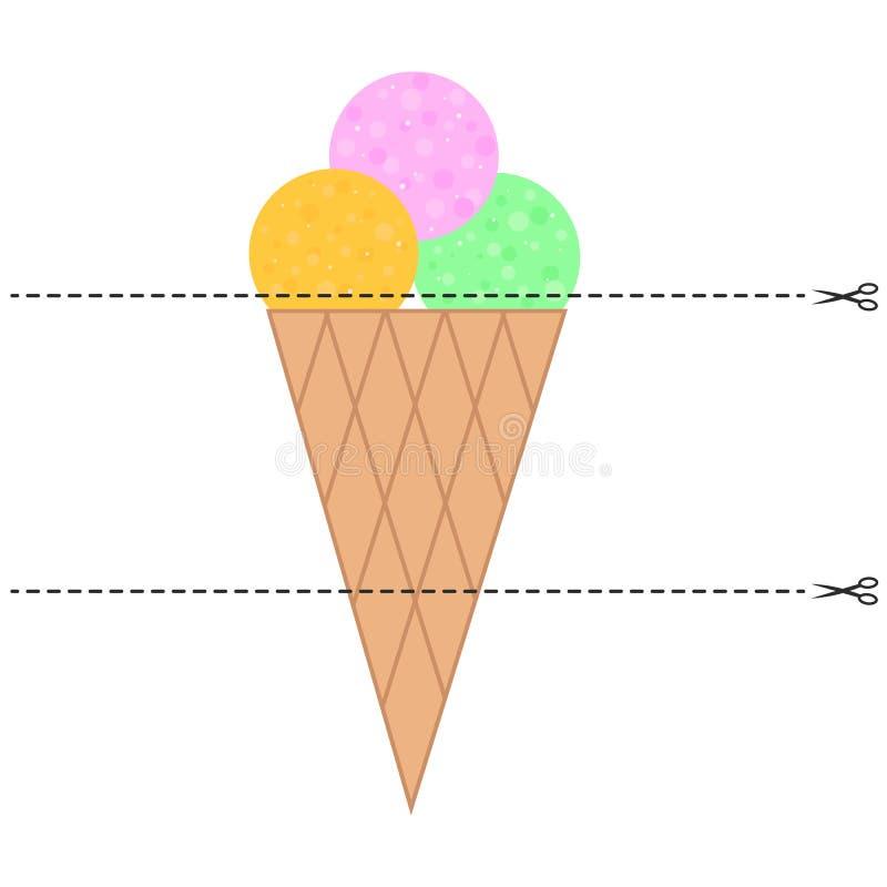 Ein Spiel für Kinder des Vorschulalters Schneiden Sie das Bild in Stücke Falten Sie sich in der rechten Bestellung mosaik Eiscrem stock abbildung