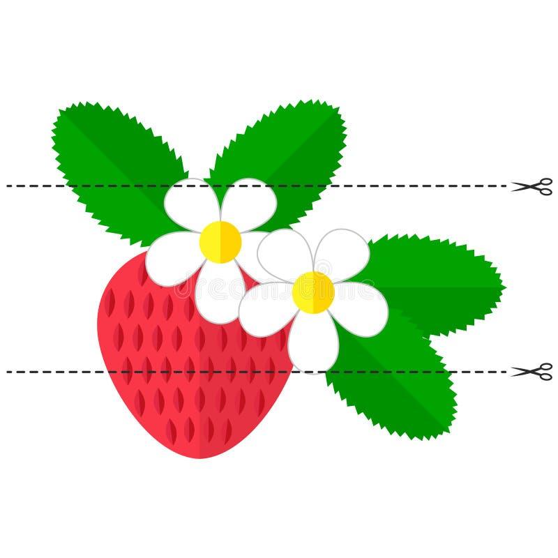 Ein Spiel für Kinder des Vorschulalters Schneiden Sie das Bild in Stücke Falten Sie sich in der rechten Bestellung mosaik Erdbeer lizenzfreie abbildung