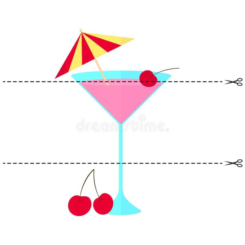 Ein Spiel für Kinder Schneiden Sie das Bild in Stücke Falten Sie sich in der rechten Bestellung mosaik Cocktail mit Kirsche und R stock abbildung