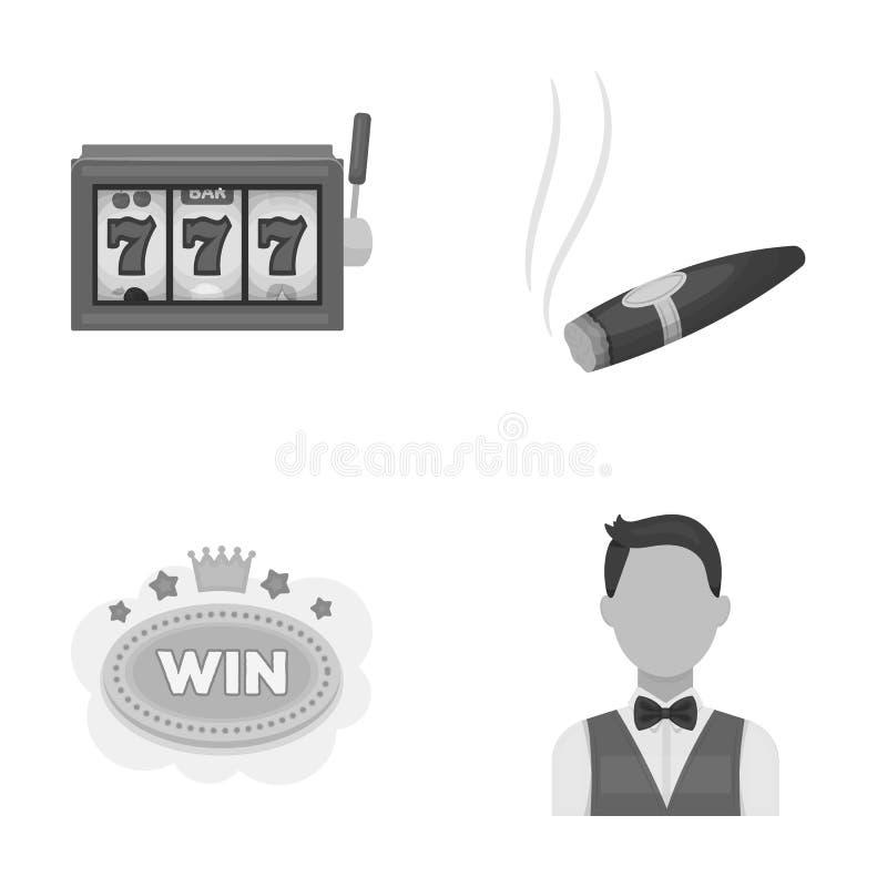 Ein Spielautomat ein Spielautomat, eine Zigarre mit Rauche, ein Fünf-Sternehotelzeichen, ein Dilettant in eine Weste Kasinos und vektor abbildung