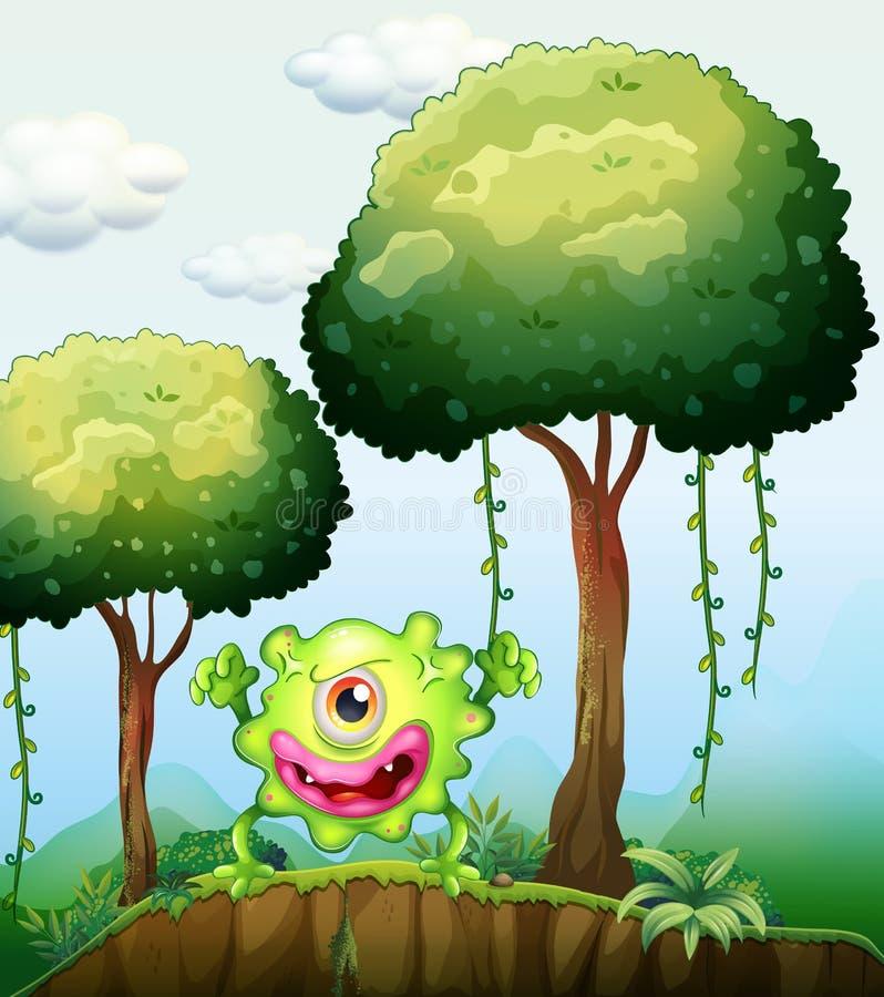 Ein spielerisches grünes Monster an der Klippe im Wald vektor abbildung