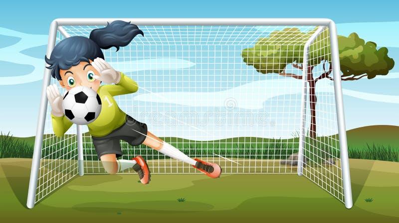 Ein sportliches junges Mädchen, das Fußball spielt stock abbildung