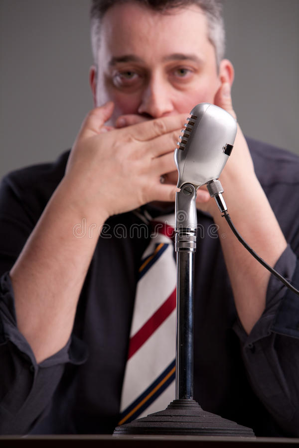 Ein Sprecher, der nicht sprechen kann lizenzfreies stockbild