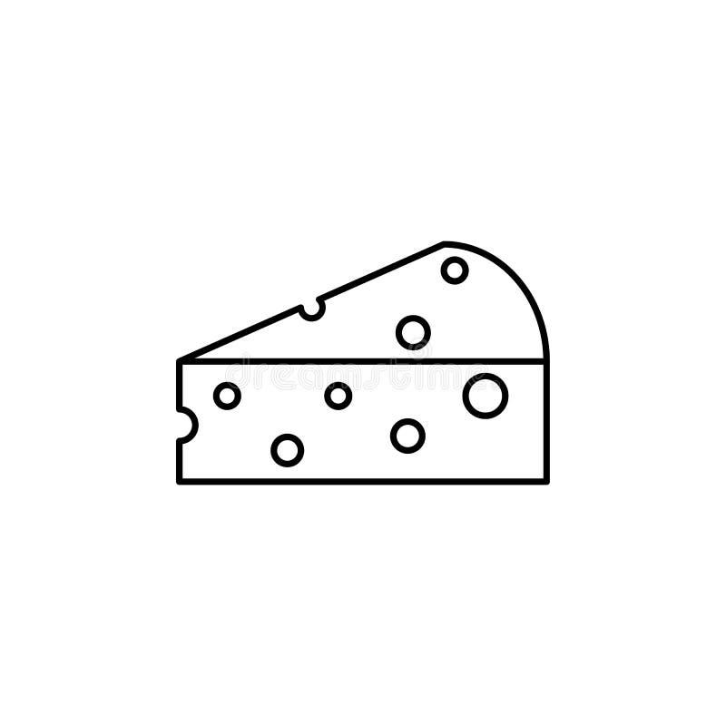 Ein Stück Käseikonen-Mahlzeitkäse vektor abbildung