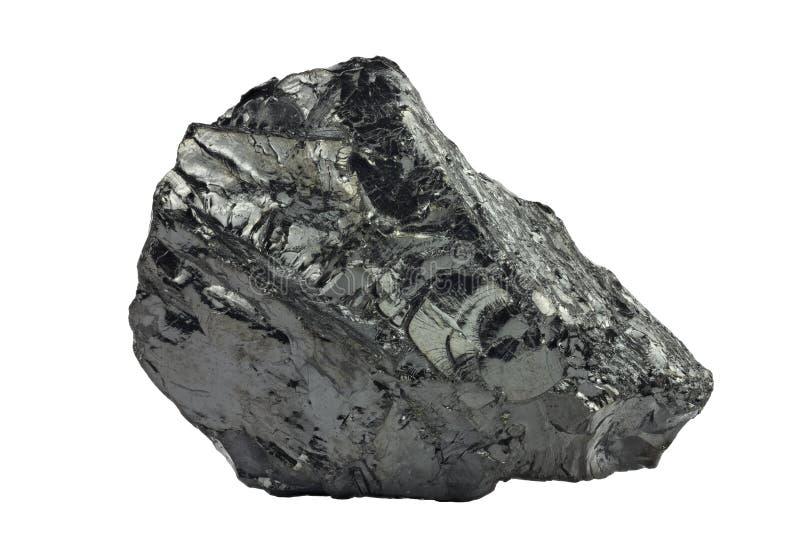 Ein Stück Kohle auf dem Weiß getrennt stockfotos