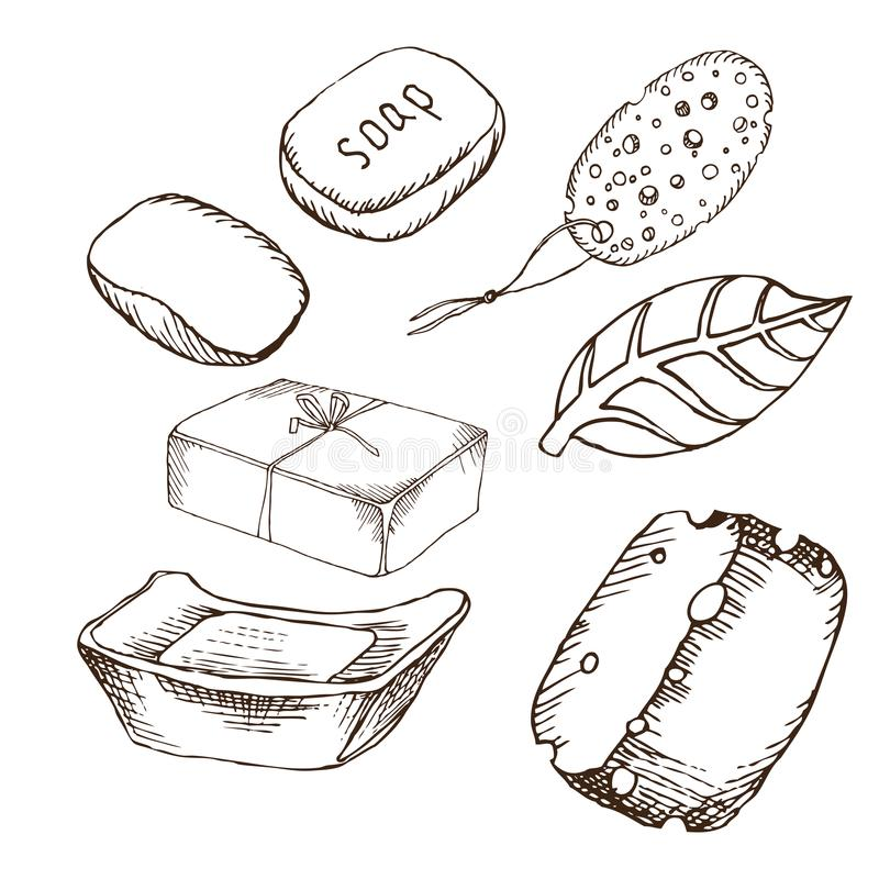 Ein Stück Seife, Bimssteinschwamm, Hygieneeinzelteile in der Sauna Satz Zubehör für Bad, Sauna Handzeichnung in der Skizze vektor abbildung