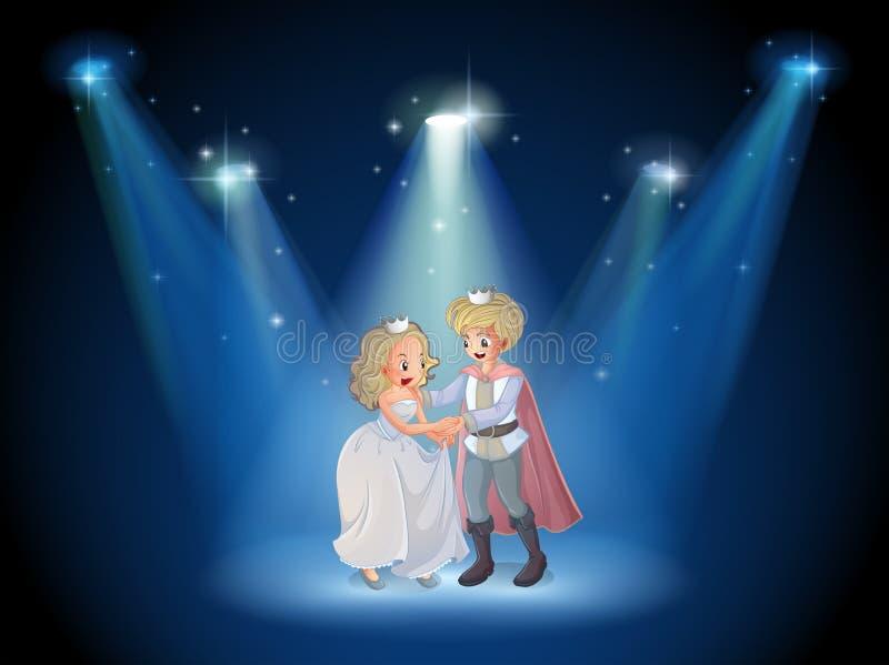 Ein Stadium mit einem Prinzen und einer Prinzessin vektor abbildung