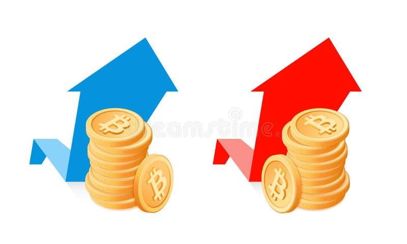 Ein Stapel bitcoins auf einem Wachstum stellt Hintergrund grafisch dar lizenzfreie abbildung