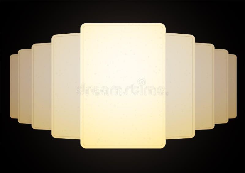 Ein Stapel einer Plattform einiger Karten heraus auf dem Tisch verbreitet mit einem Panorama Der freie Raum, das alte Papier ist  lizenzfreie abbildung